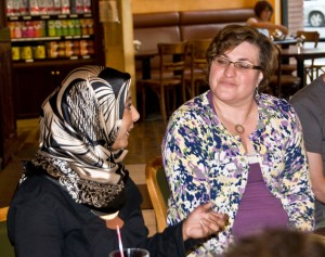 Rabbi London (right) co-leading a text study on the role of women in Jewish and Muslim traditions (July 2012)