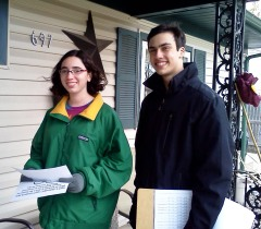 Or Tzedekers Vered and Joel (right) canvassing.