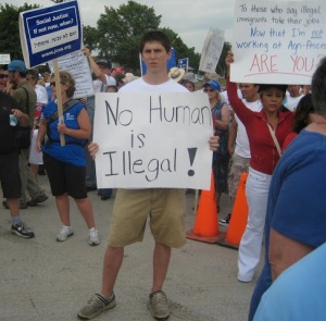 JCUA members protesting in Postville (July, 2008)