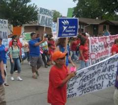 JCUA marches in solidarity with the people of Postville, Iowa, 2008.