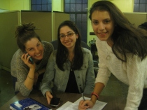 Miranda (left), Stacy, and Avital phonebanking