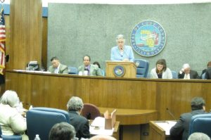 In Photo: Cook County Board President Toni Preckwinkle urging commissioners to vote in favor of the amendment.