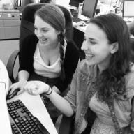 Eliana (right) and Rachel at their Or Tzedek internship