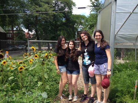 A photo of the Growing Home volunteers from Or Tzedek: (from left) Madison, Meirav, Miriam, and me!