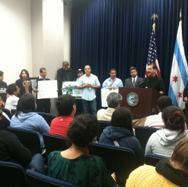 Cook County Commissioner Jesus Garcia speaking at the press conference.