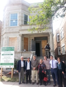 Taking a recent tour of the project were (photo at upper left) Ralph Brown, Kaitlyn Wiedeman, David Midgely, Roberta Nechin, Josh DeGraff, Zachary Braun and Judy Levey. Wiedeman and DeGraff are with Breaking Ground. Brown, Midgely, Nechin and Braun are JCUA leaders. Levey is JCUA's executive director.