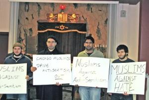 CAIR-Chicago members protesting against anti-Semitism