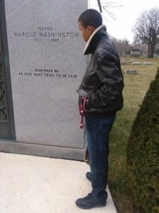 Christopher Huff at Mayor Washington's grave.