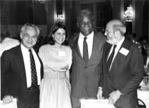 Mayor Washington at a JCUA event in 1983. With him (right to left): Rabbi Robert Marx (JCUA founder), Jane Ramsey (JCUA executive director, who later served in Washington's cabinet), and Kurt Rothschild (then JCUA Board president).