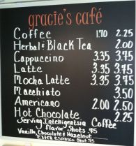 Gracies Cafe Menu