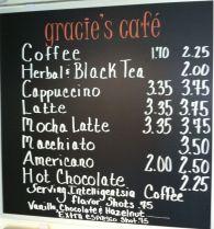 Gracies Cafe Menu
