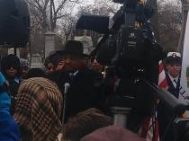 "Jesse Jackson speaking at Washington's memorial ceremony. He said: ""We will not let let the flame burn out... without Harold there is no Barack."""
