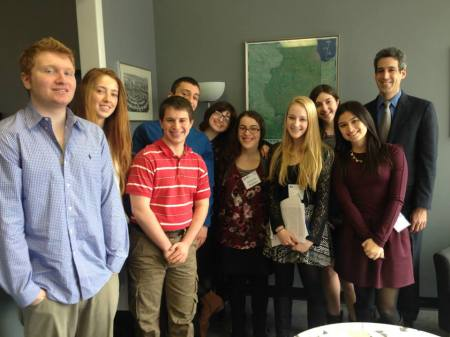 Teens from CJHS meet State Senator Daniel Biss as part of their three-day Or Tzedek retreat.