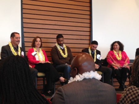 Selmat at 50 Panel from left to Right: Cook County Commissioner Chuy Garcia Judy Levey, Jewish Council on Urban Affairs Rami Nashashibi, Inner-City Muslim Action Network Rev. Otis Moss III, Trinity United Church of Christ Sylvia Puente, Latino Policy Forum  Rev. Starsky D. Wilson, Deaconess Foundation, St. Louis, MO