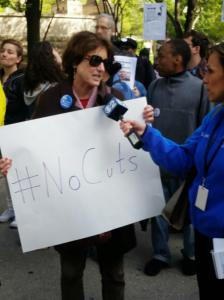 JCUA Board Chair and member Peggy Slater is interviewed at Raunerville action in MAy.