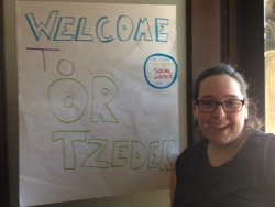 Emily Isaacson, our amazing Or Tzedek summer intern, gets ready to welcome our second session participants!
