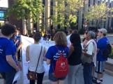 Outside the University of Chicago Medical Center for the interfaith prayer vigil.