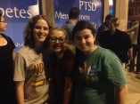 """Hannah, Izzy, and Jenna as we waited to see the Neo-Futurists """"Too Much Light Makes the Baby Go Blind"""" show on Saturday night!"""