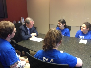 Senator Cullerton listens to our teens share their perspective on HB 1288, the Domestic Worker's Bill of Rights.