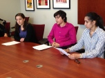 Leah, Max, and Gracie delivering remarks to State Senator Julie Morrison's chief of staff.