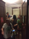 Teens goof around and relax at the Br. David Darst Center, our home-stay during Or Tzedek